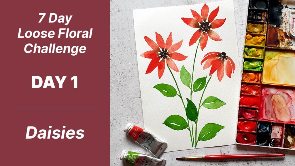 7 day floral challenge watercolor day 1 daisies