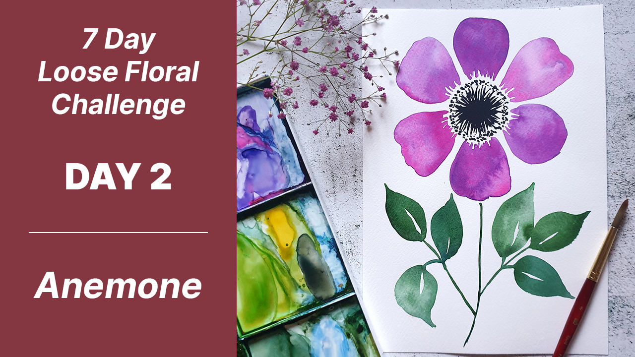 7 day floral challenge watercolor day 2 anemone