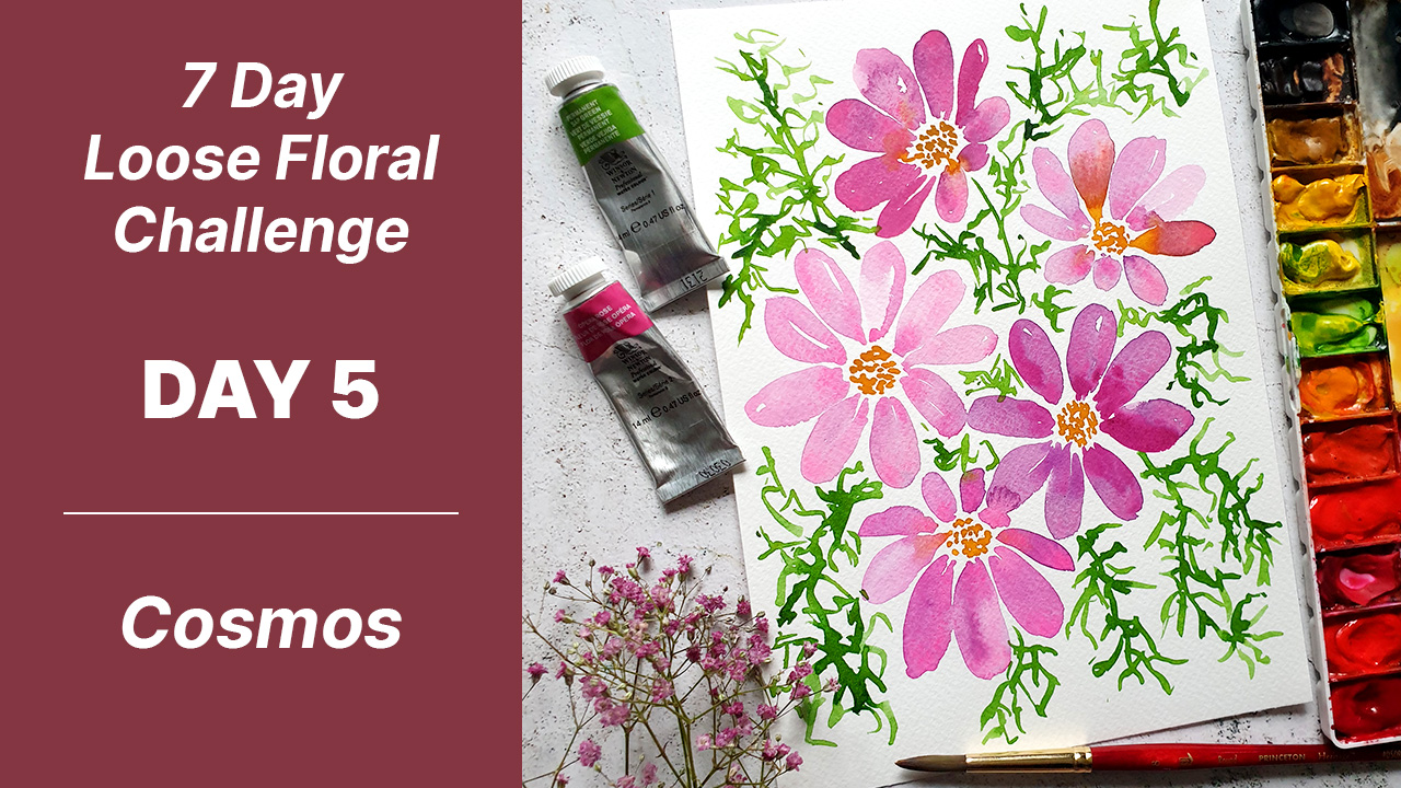 7 day floral challenge watercolor day 5 cosmos