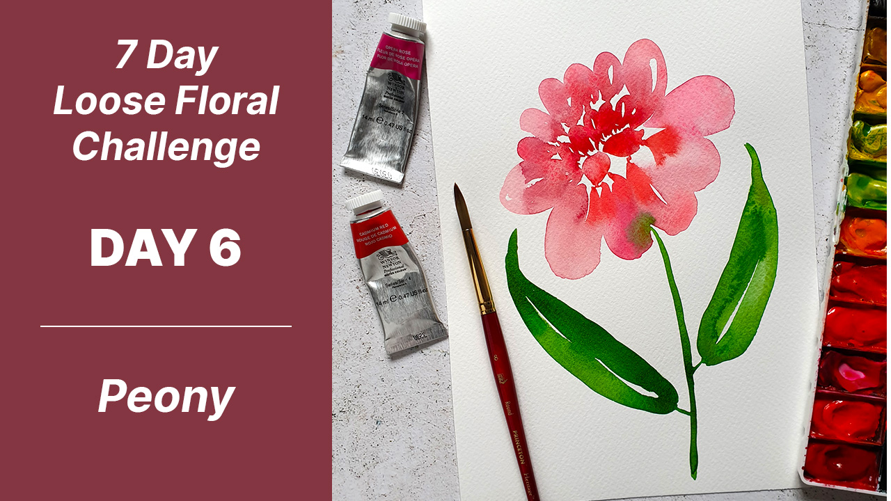 7 day floral challenge watercolor day 6 peony