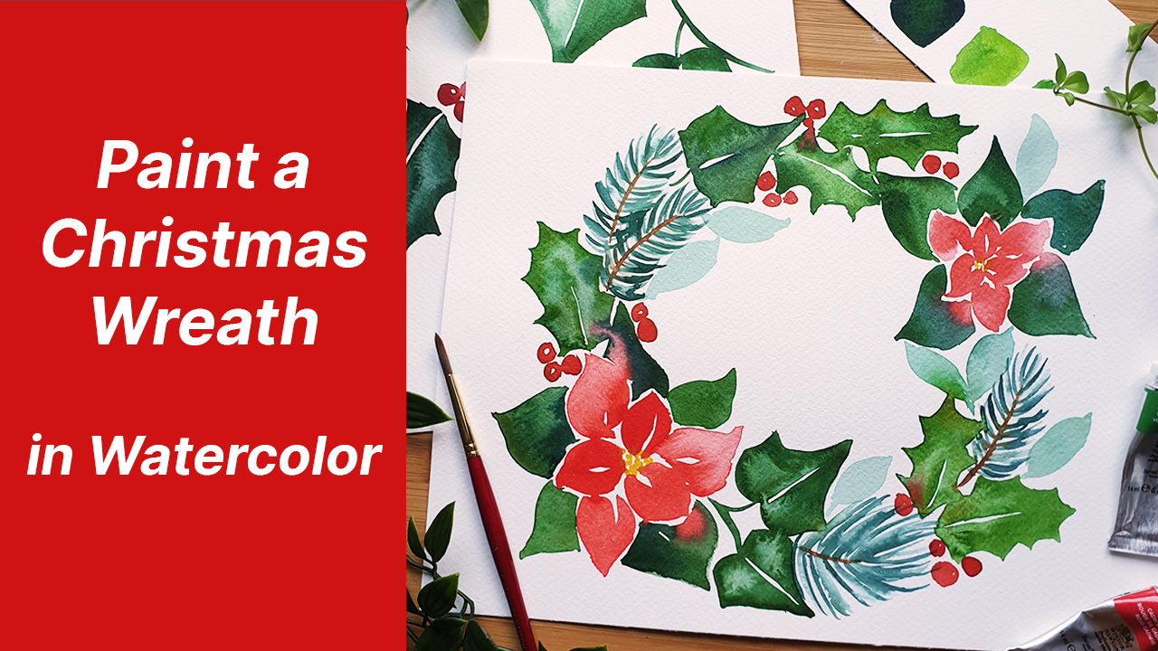 emily wassell art skillshare christmas wreath watercolor class