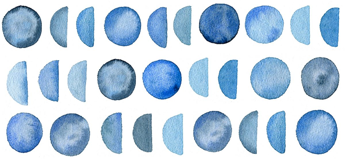 blue moons watercolour pattern