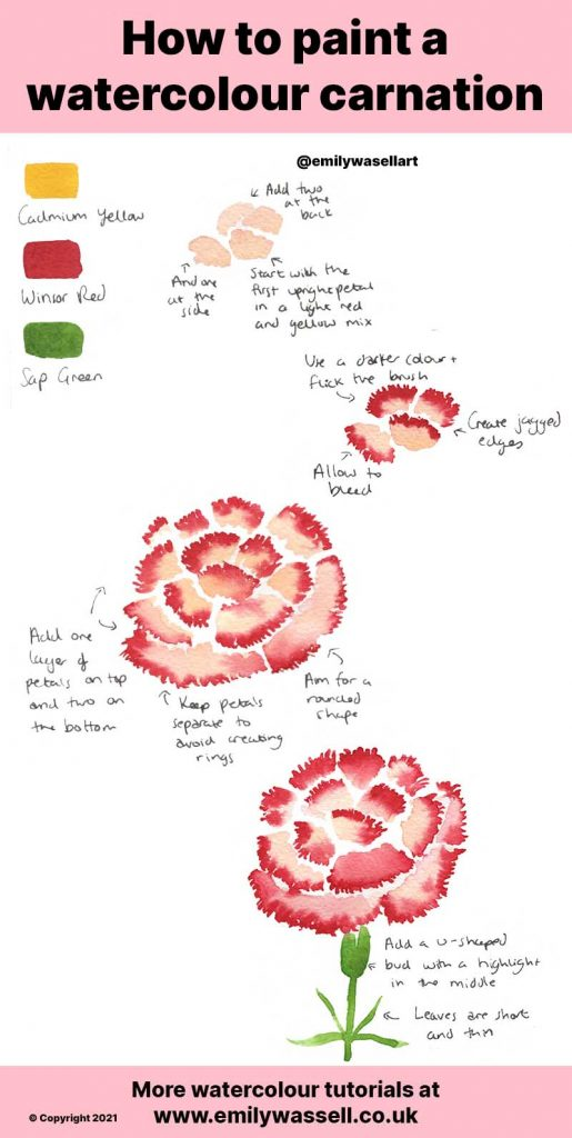 watercolor carnation tutorial step by step