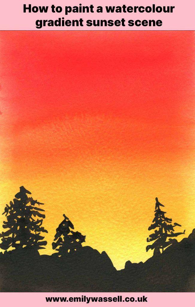 tutorial paint a watercolour sunset gradient