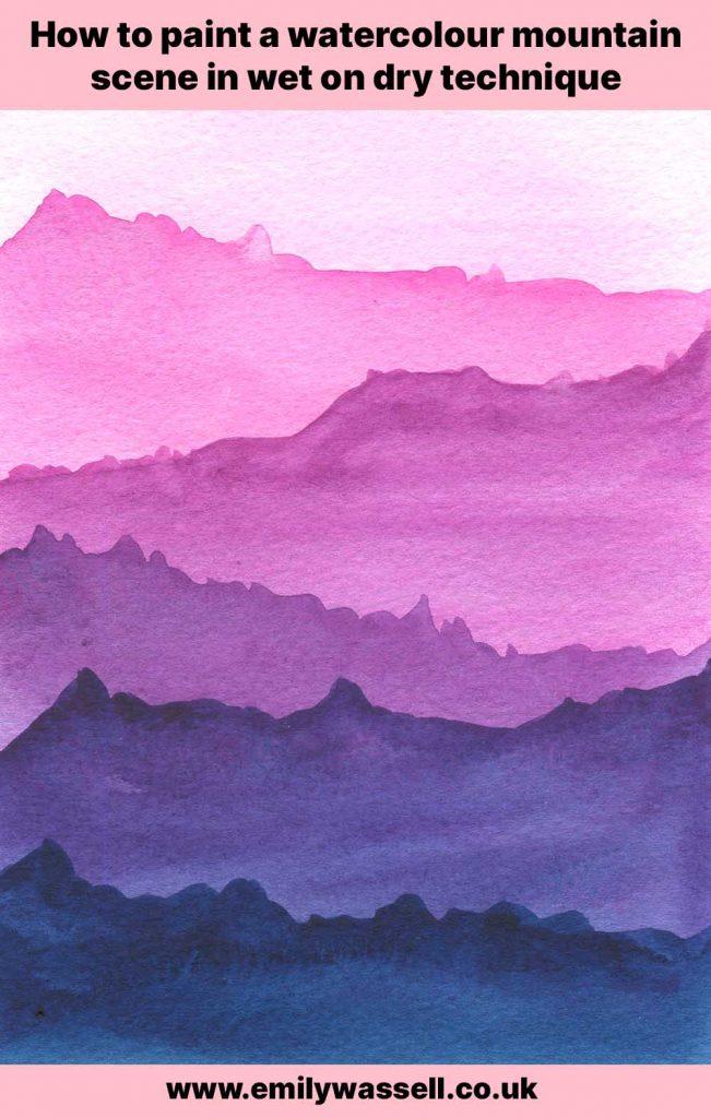 watercolor mountain scene painting technique