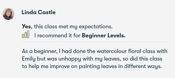 watercolour leaves online art class review
