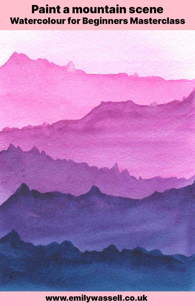 watercolour beginners masterclass mountain scene