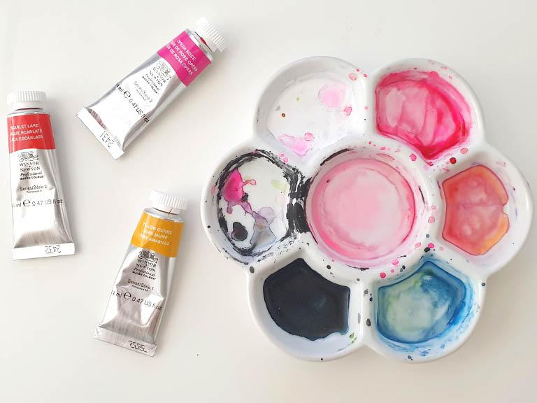 ceramic watercolor palette daisy flower