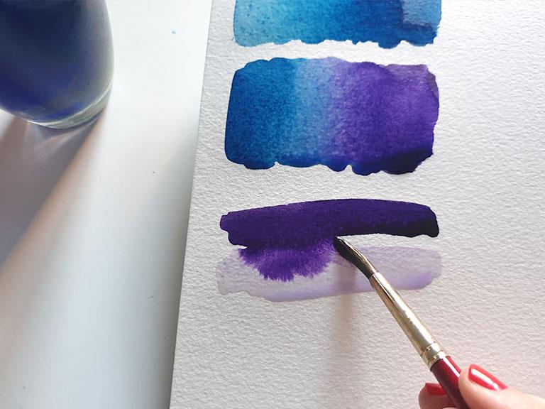 watercolour gradient tilt technique